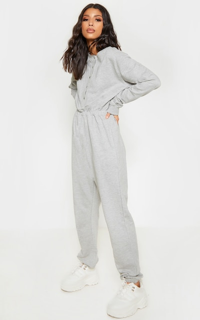 Grey Button Up Loop Back Jumpsuit