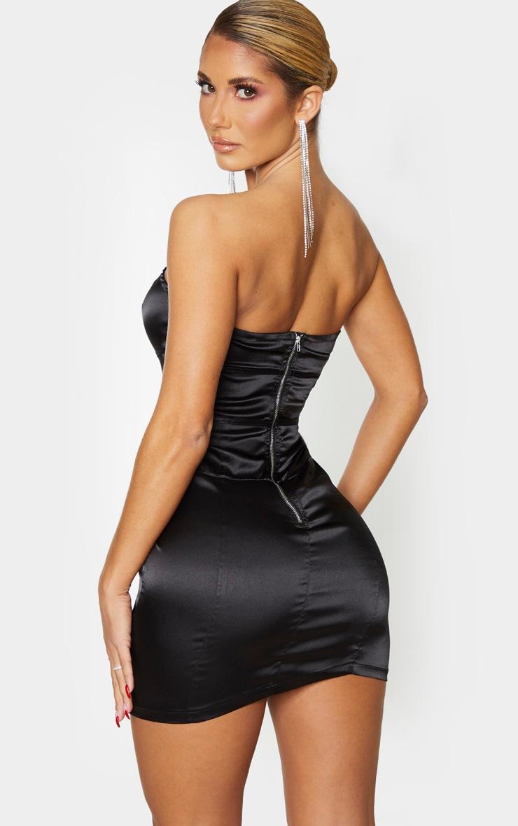 Black Satin Binding Detail Bandeau Bodycon Dress 2