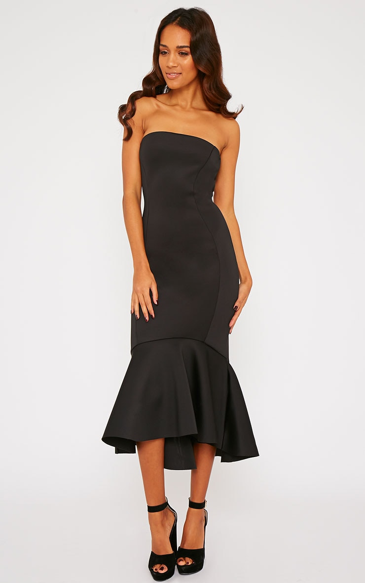 Aisha Black Bandeau Fish Tail Dress 4