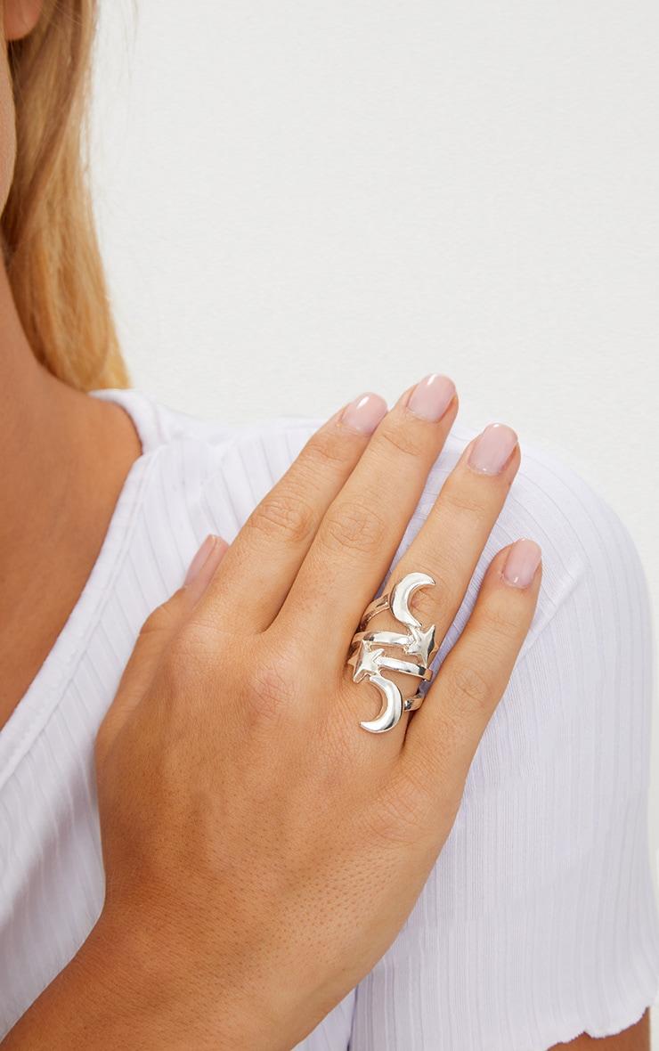 Silver Star Moon Ring 2