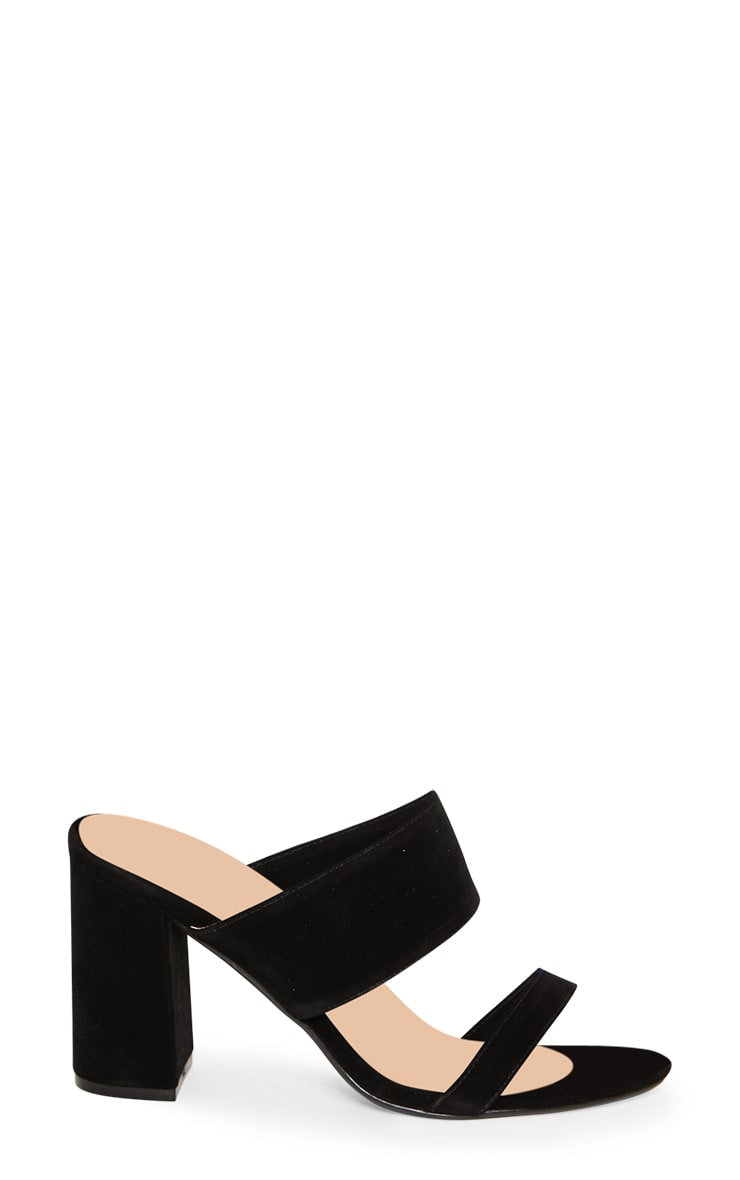 Black Twin Strap Block Heel Mule 3