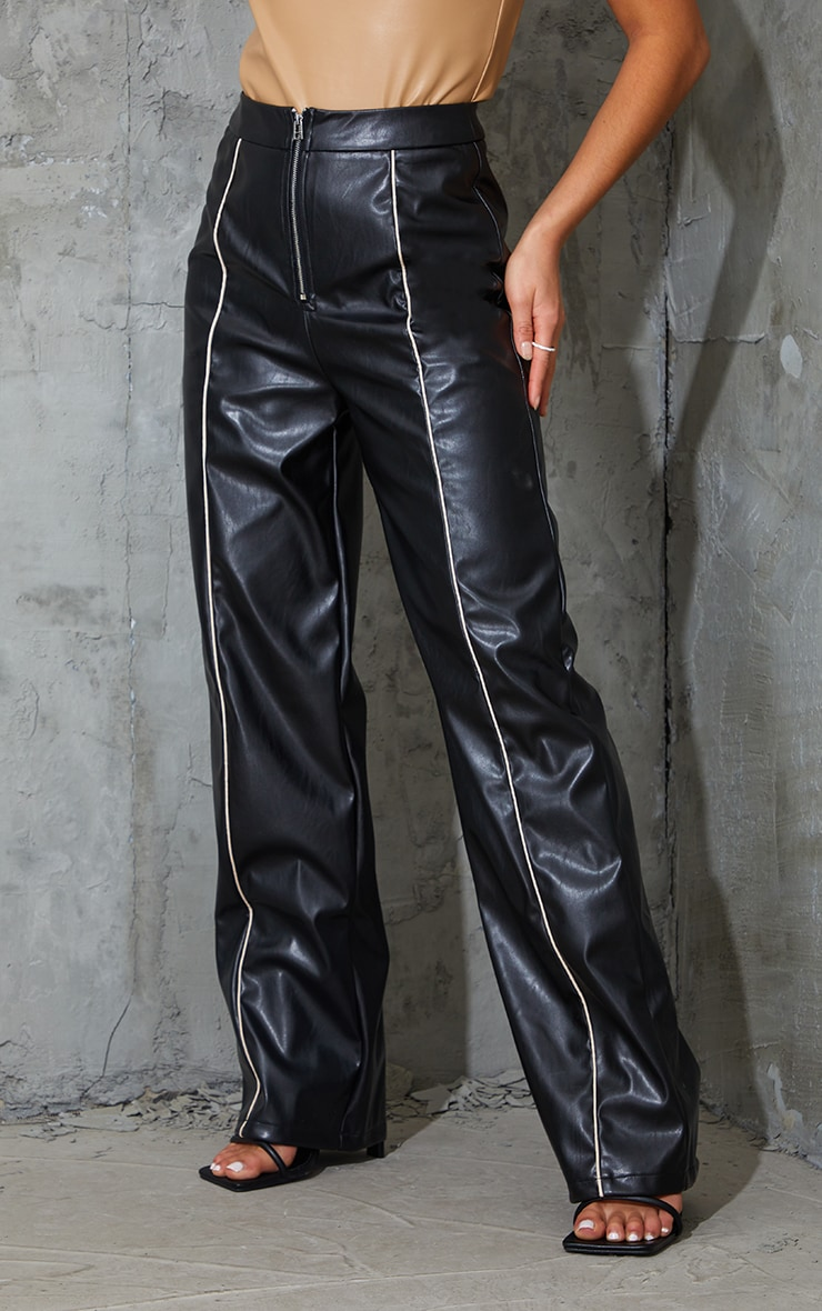 Petite Black Faux Leather Piping Detail Straight Leg Trousers 2