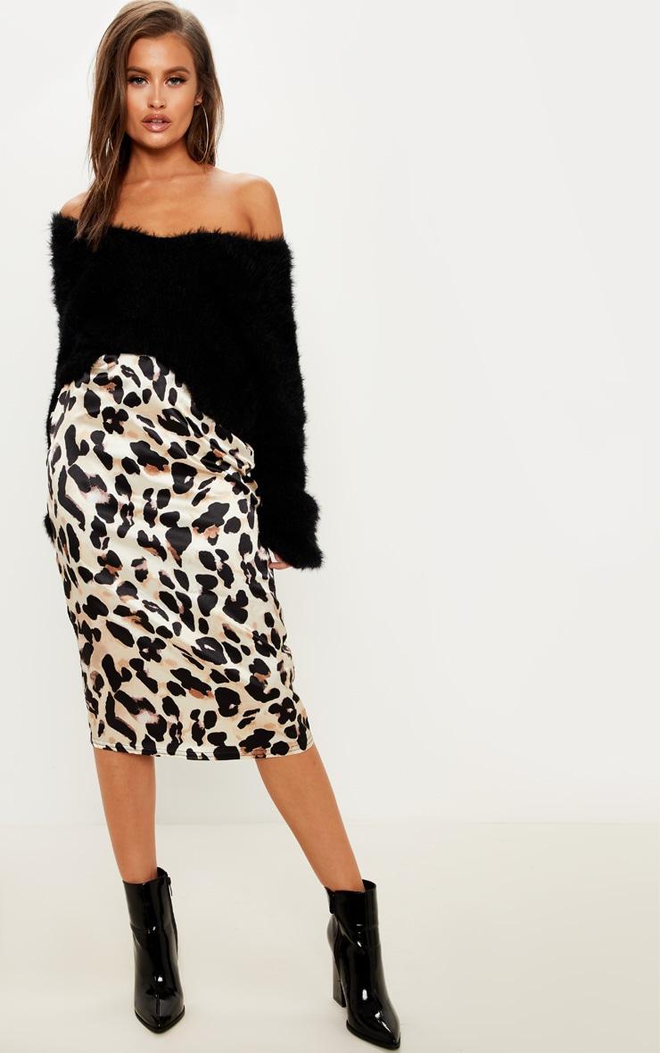 Leopard Print Satin Midi Skirt
