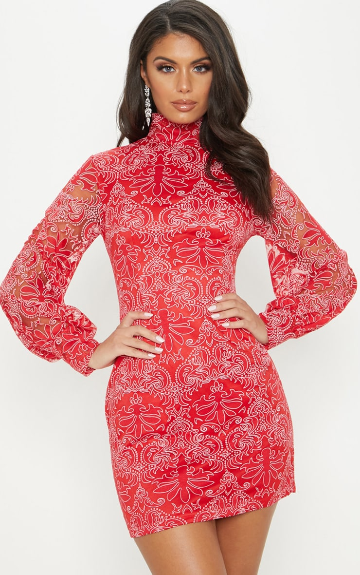 Red Flocked Lace Long Sleeve Bodycon Dress 1