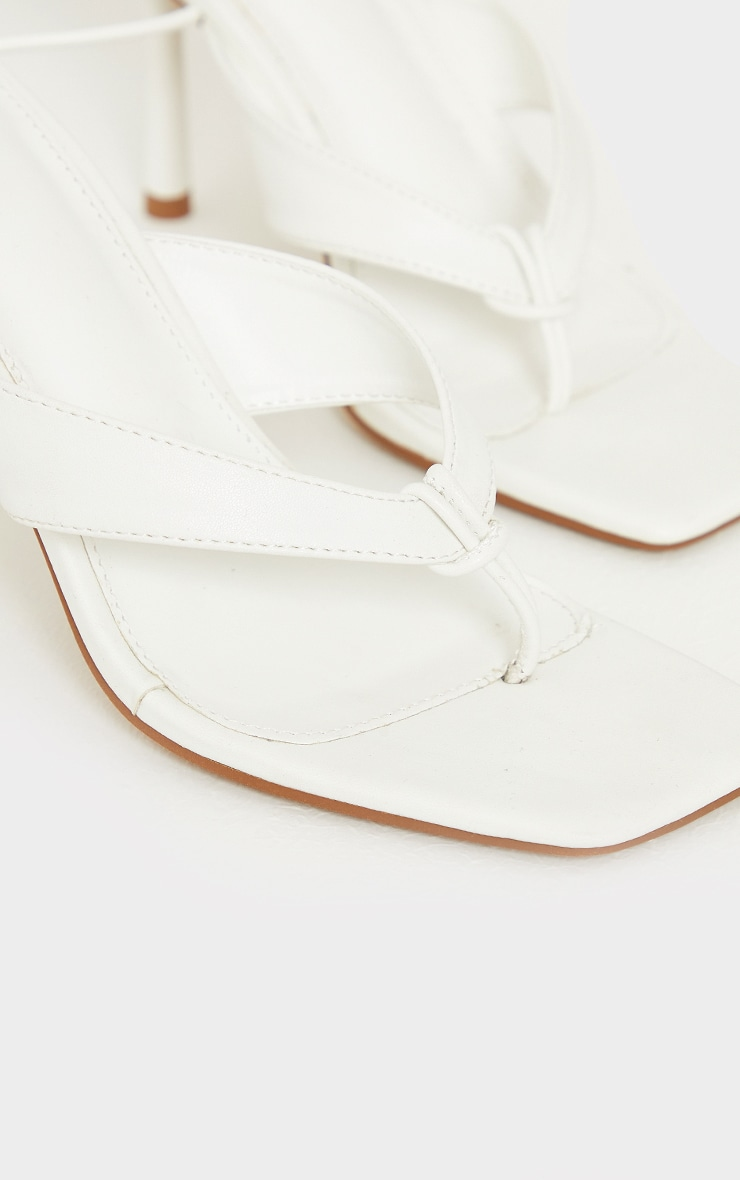 White PU Toe Thong Lace Up Mid Heeled Sandals 4