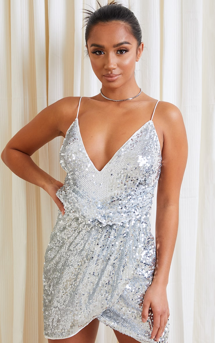 Petite Silver Sequin Wrap Front Strappy Bodycon Dress 1