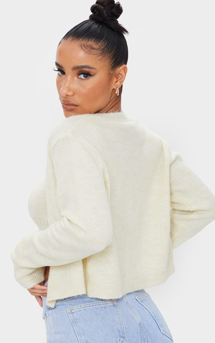 Cream Cosy Knitted Cropped Button Down Cardigan 2