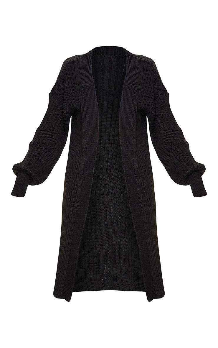 Black Ribbed Knitted Midi Cardigan 5