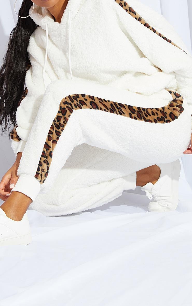 Cream Leopard Print Contrast Borg Joggers 4