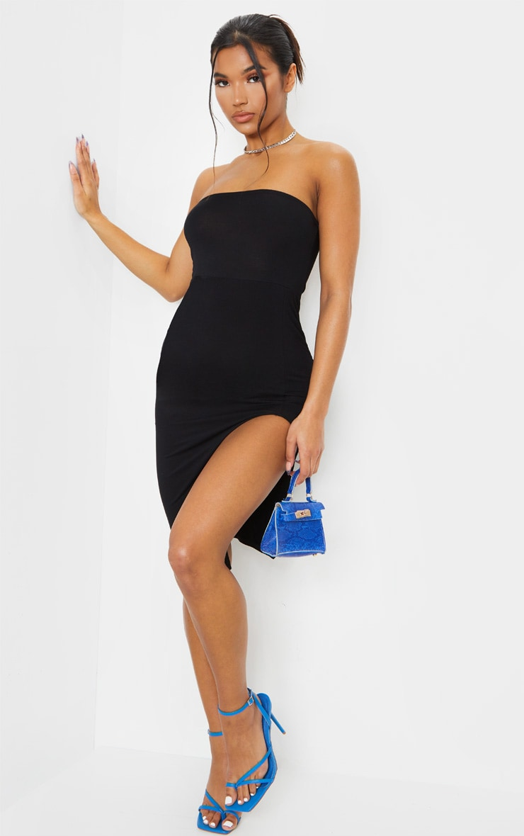 Black Bandeau Split Front Midi Dress 3