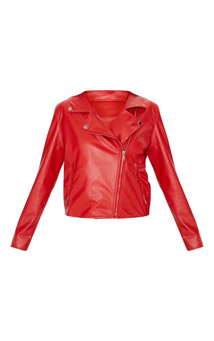 Bright Red PU Biker Jacket 3