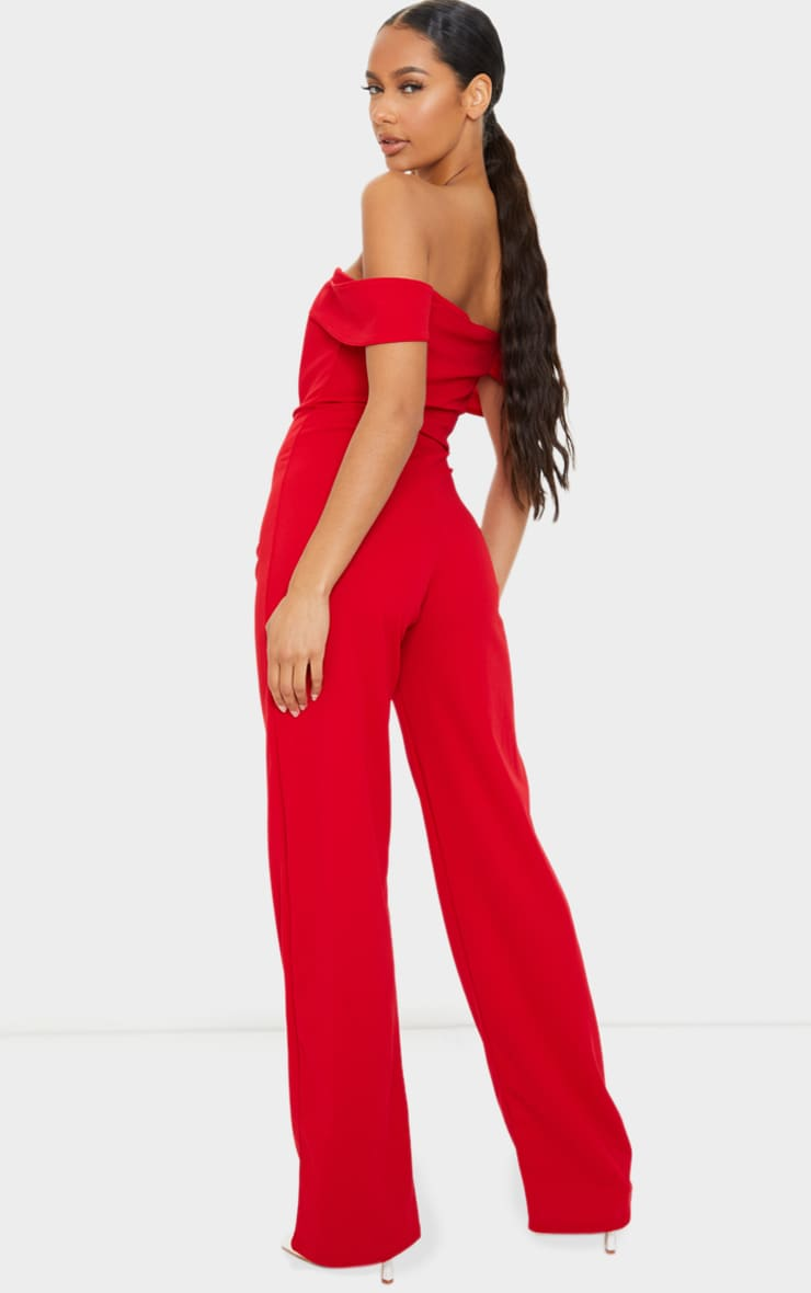 Red Bardot Corset Wide Leg Jumpsuit 2