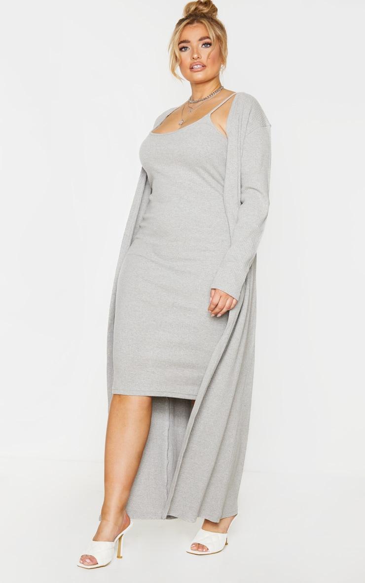 PLT Plus - Cardigan long côtelé brossé gris 3