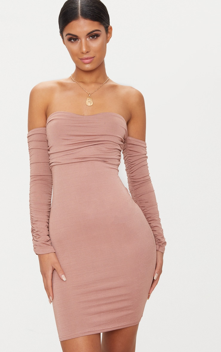 Nude Ruched Front Ruched Arm Bandeau Bodycon Dress 1