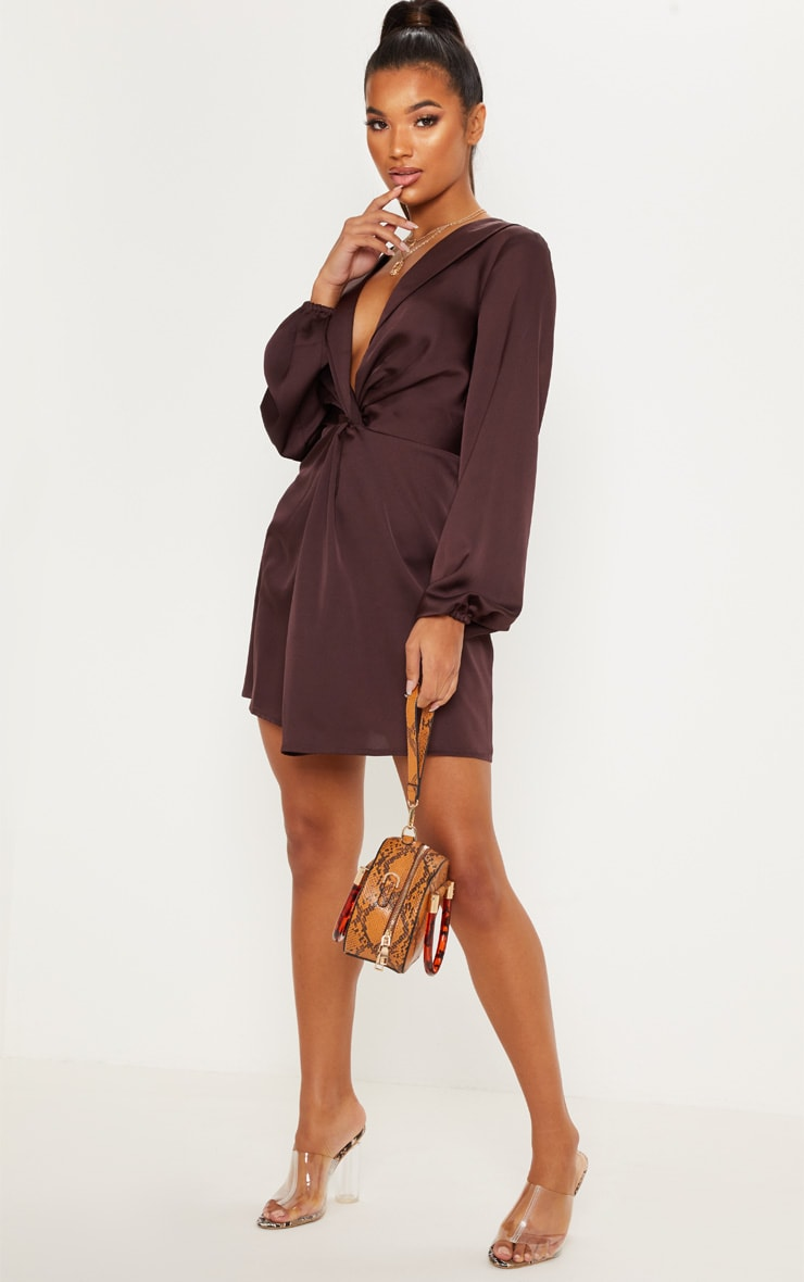 Chocolate Brown Satin Knot Detail Plunge Shift Dress 4