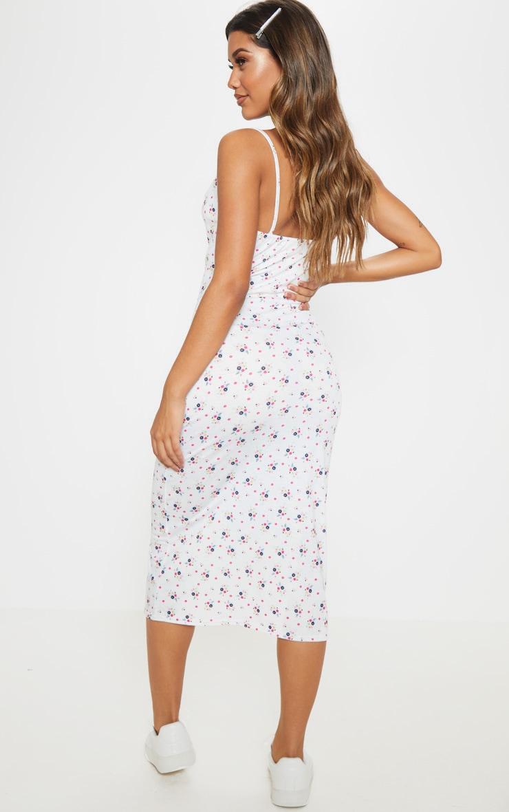 White Ditsy Floral Cowl Midi Dress 2