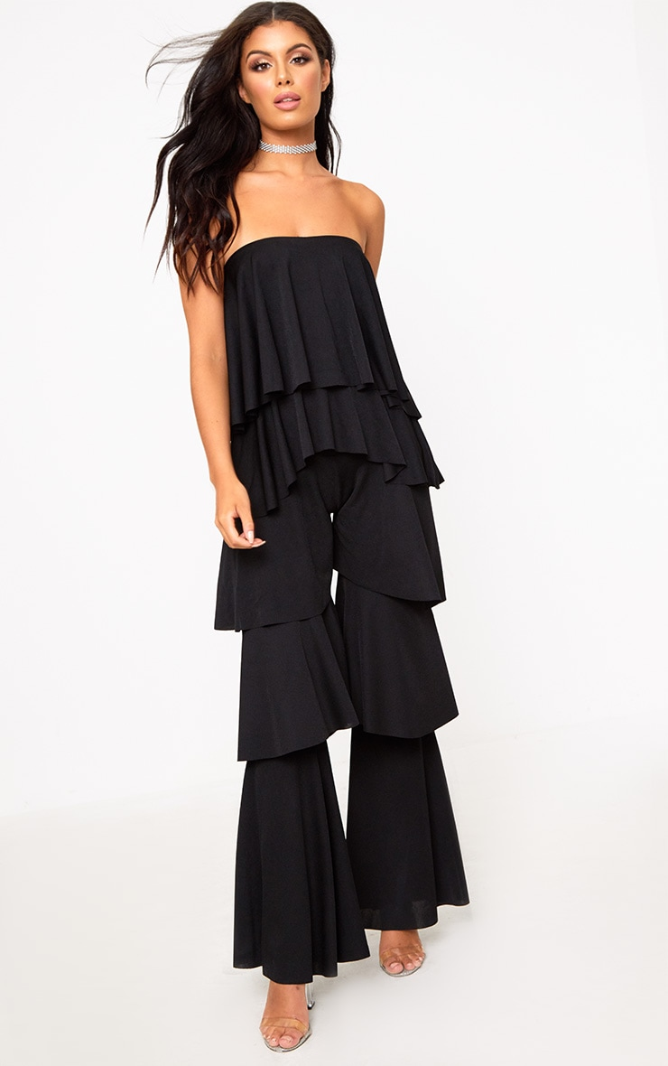 5df76700905 Black Bardot Frill Layer Detail Jumpsuit. Jumpsuits