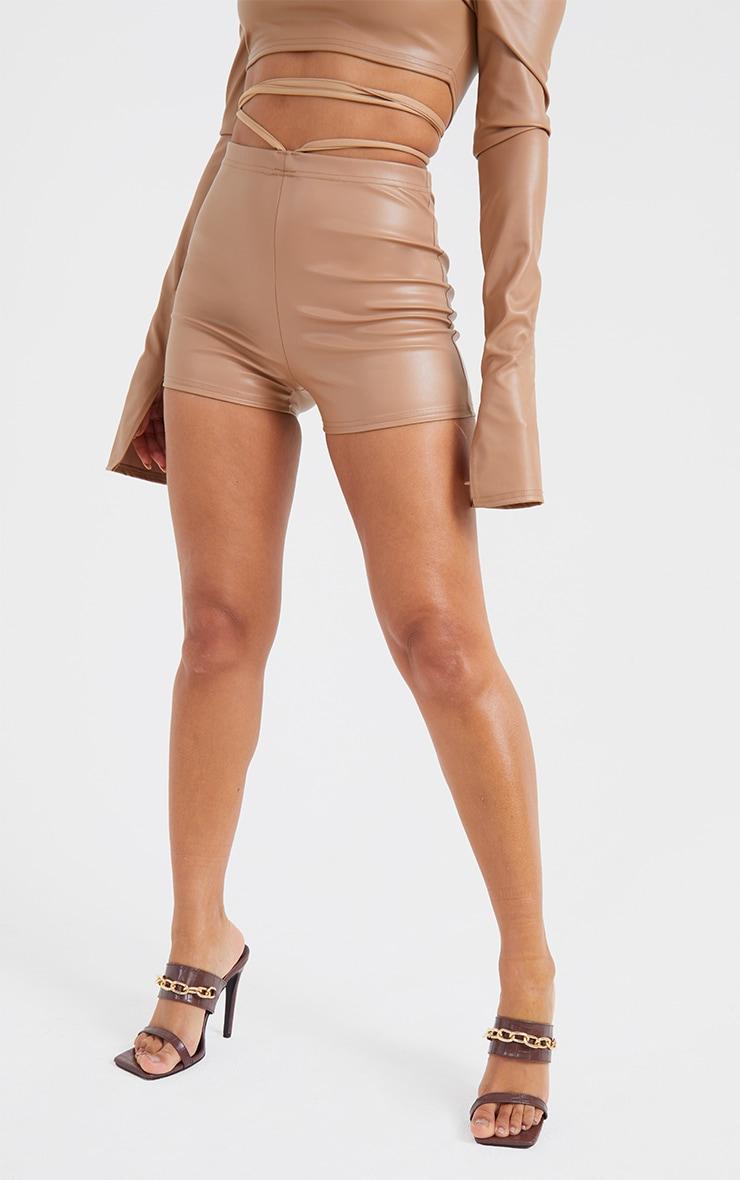 Stone Faux Leather Cross Tie Waist Shorts 2