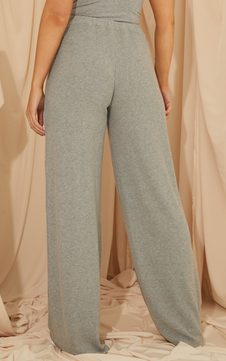 Grey Brushed Rib Wide Leg Pants 3