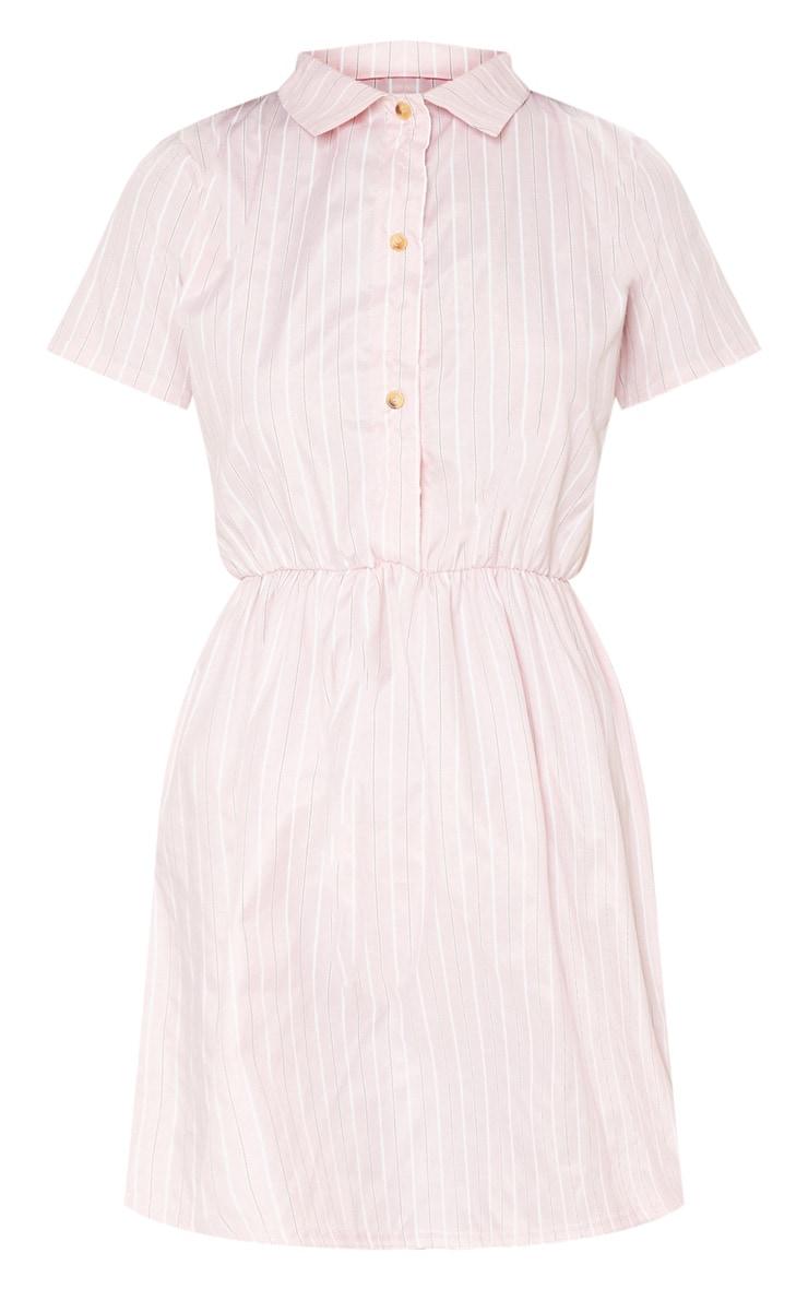 Pastel Pink Stripe Button Detail Skater Dress 3