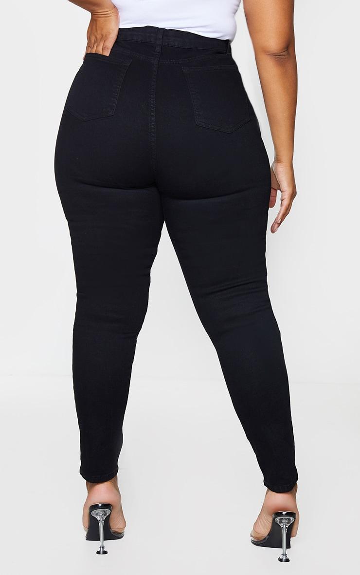 PRETTYLITTLETHING Plus Black Ripped 5 Pocket Skinny Jeans 3