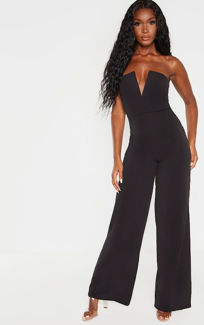 Black V Bar Wide Leg Jumpsuit