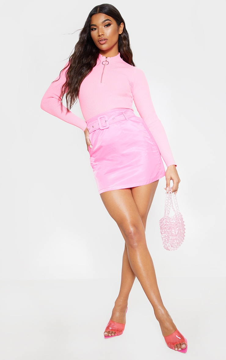 Pink Rib Zip Up Knitted Top  4