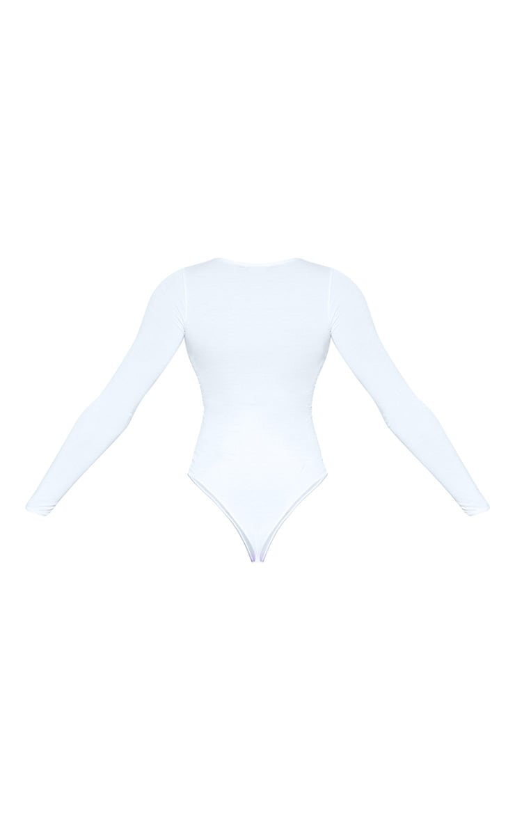 Tall White Basic Crew Neck Long Sleeve Bodysuit 4