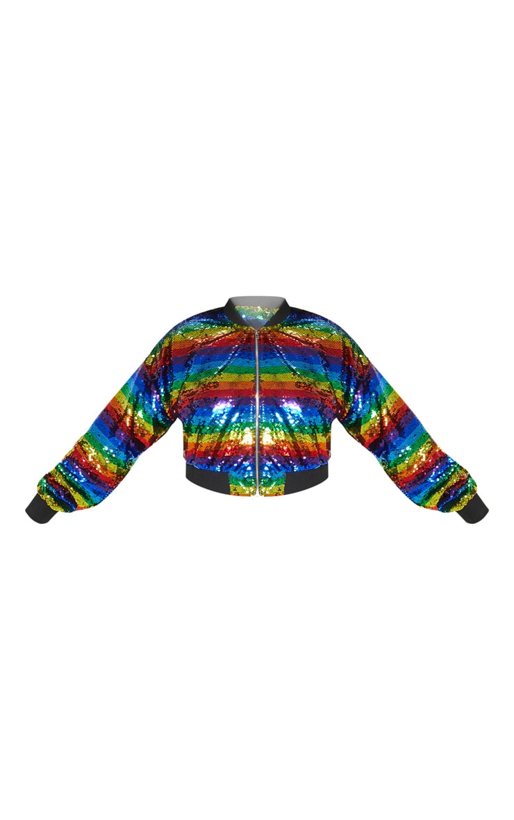 Plus Multi Sequin Stripe Bomber Jacket 3