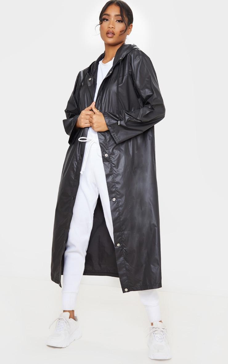 Black Slogan Hooded Windbreaker 2
