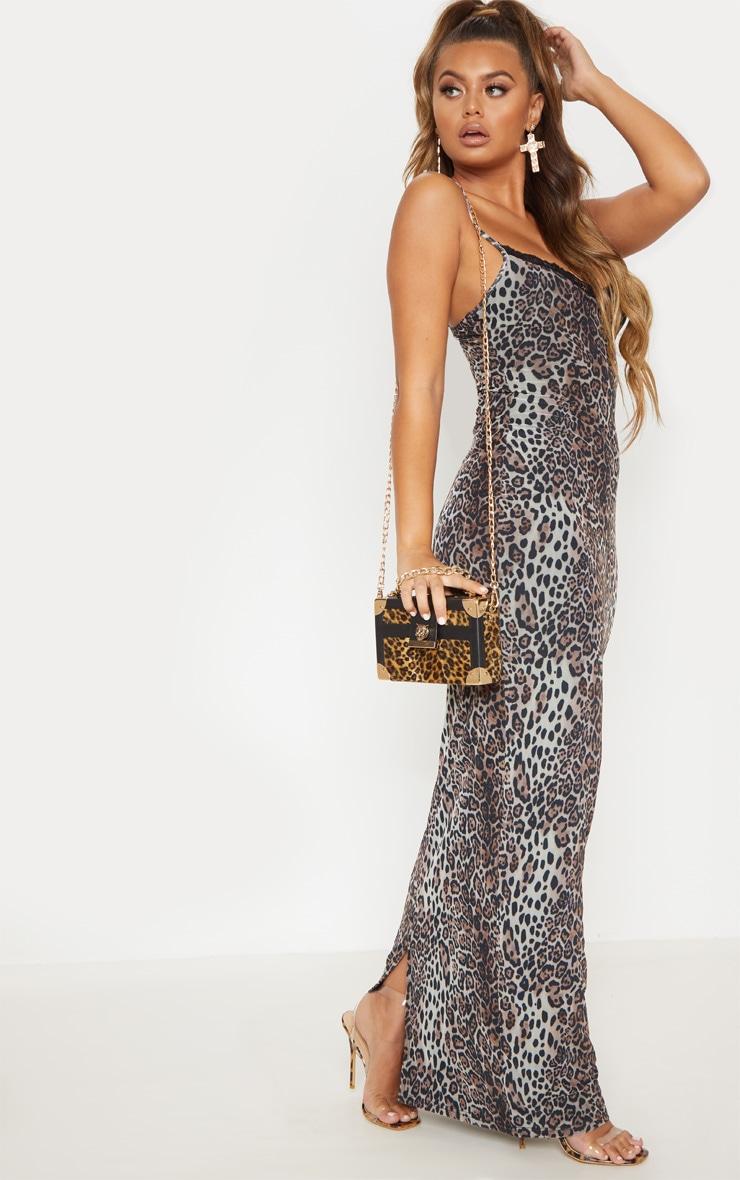 Robe longue en mesh imprimé léopard et dentelle 5