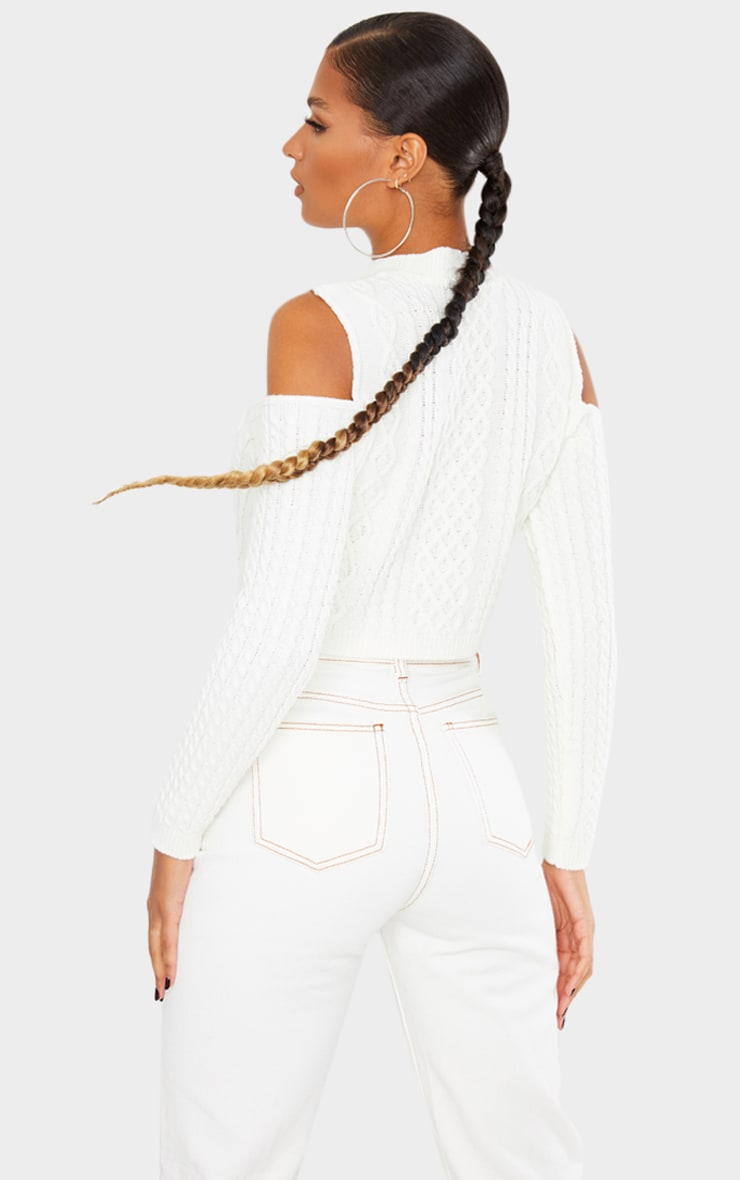 Cream Cable Cropped Cut Out Shoulder Jumper 2