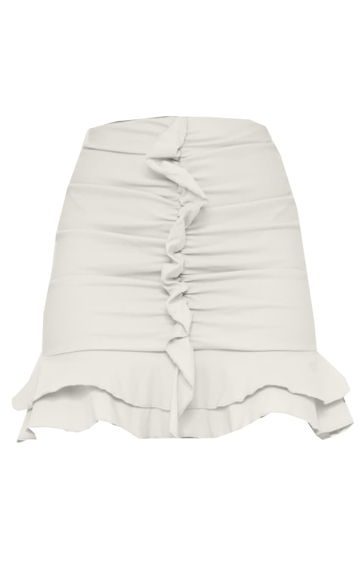 Stone Woven Stretch Ruched Front Mini Skirt 6