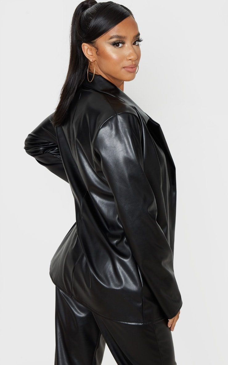 Petite Black PU Blazer  2