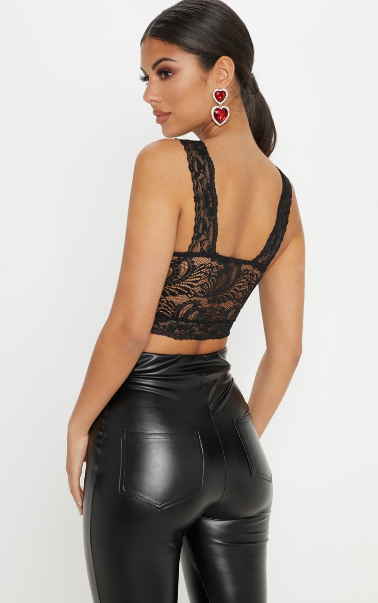 Black Lace Cross Front Detail Bralet 2