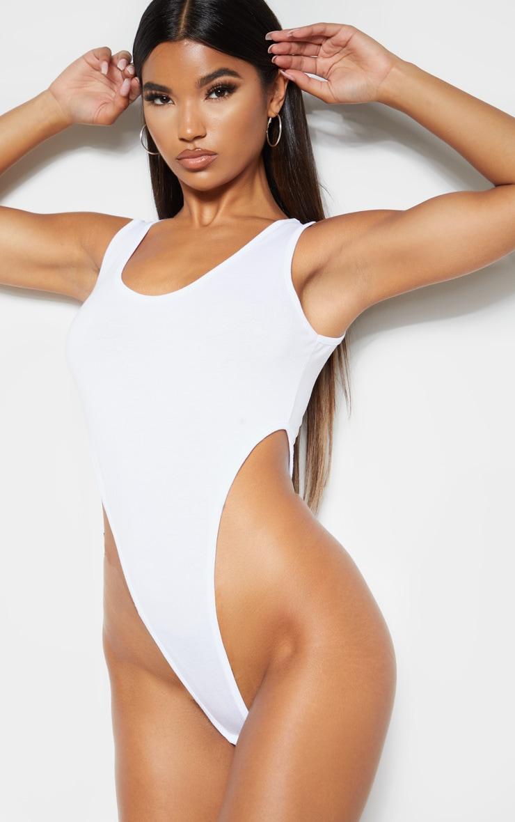 White Scoop Neck High Leg Bodysuit 2