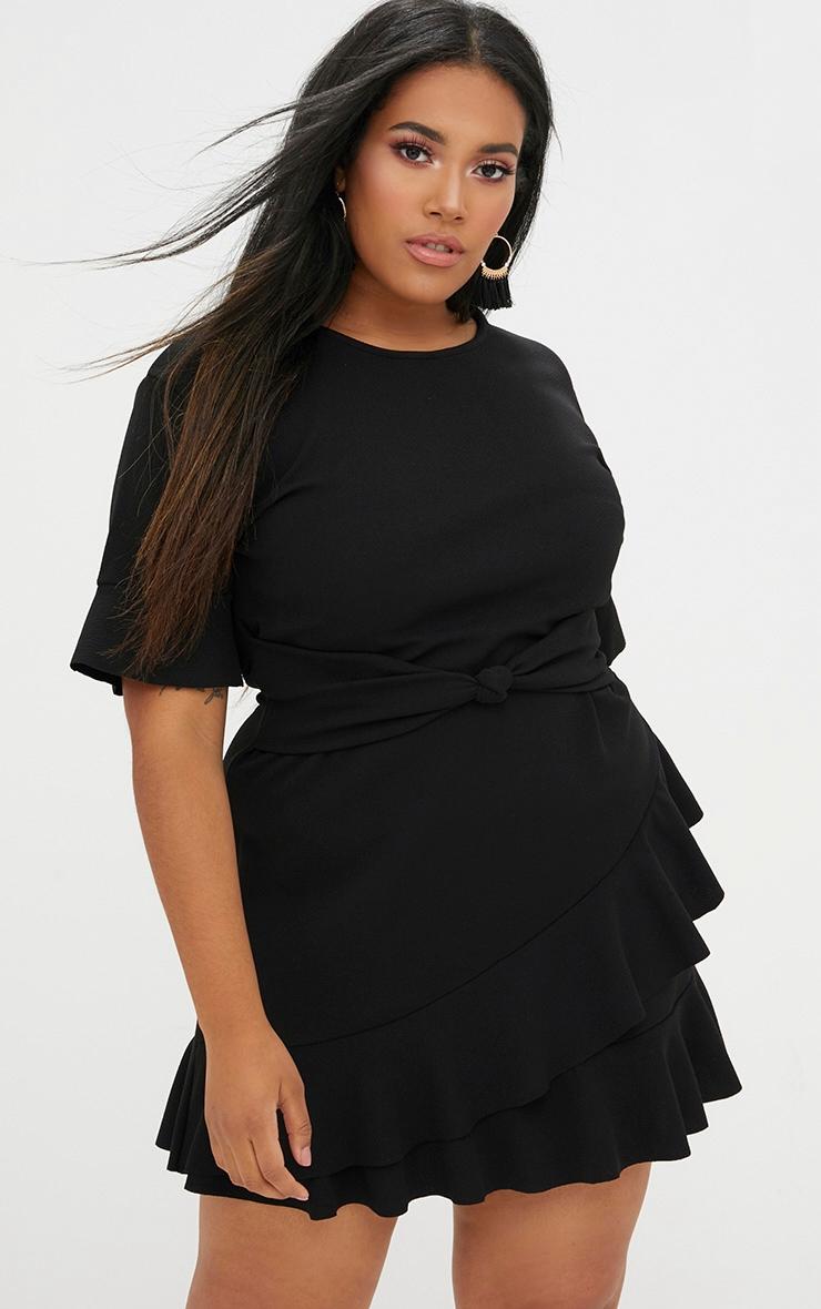 1724b0a7224 Plus Black Belted Frill Hem Mini Dress image 1