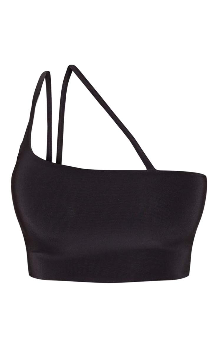 Black Slinky Asymmetric Strap Crop Top 3