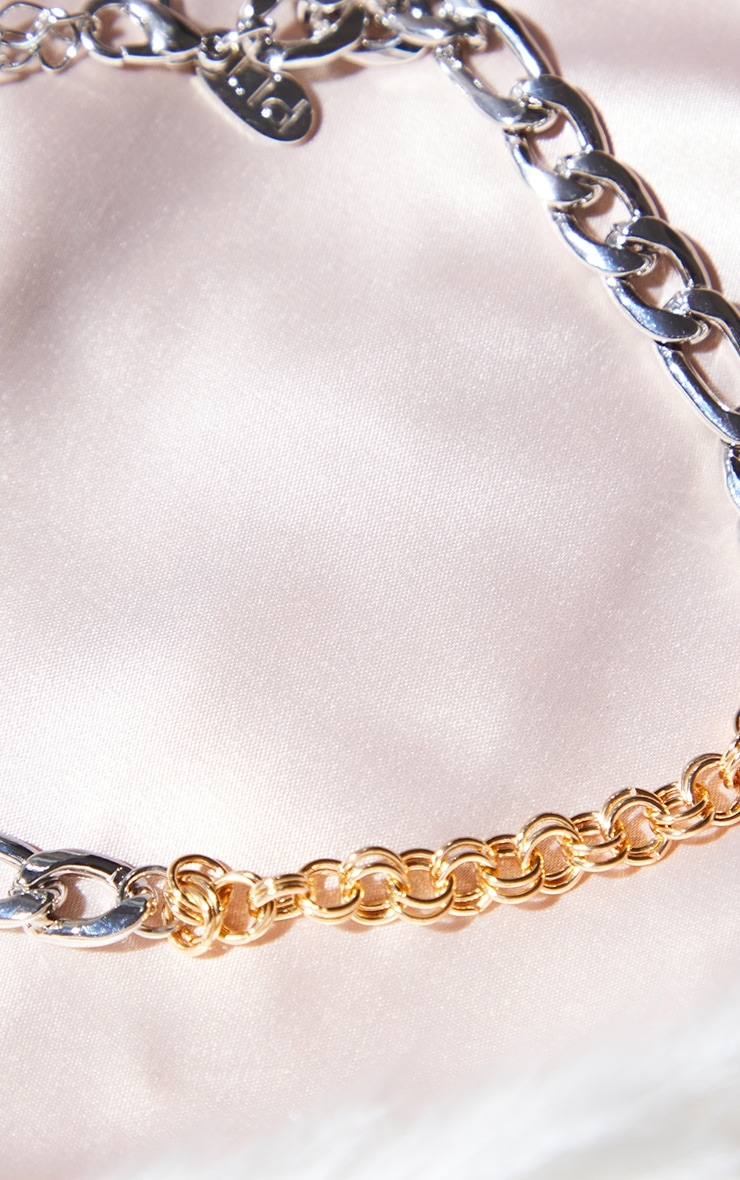 Gold And Silver Mixed Metal Mixed Chain Anklet 3