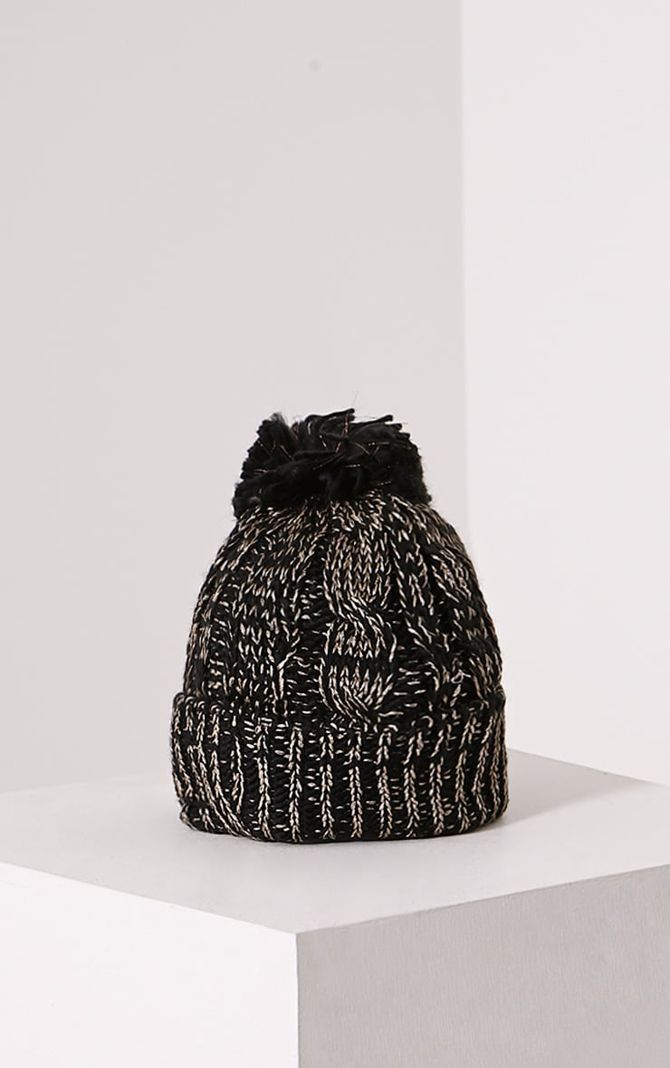 Karli Black And Gold Knitted Bobble Hat 3