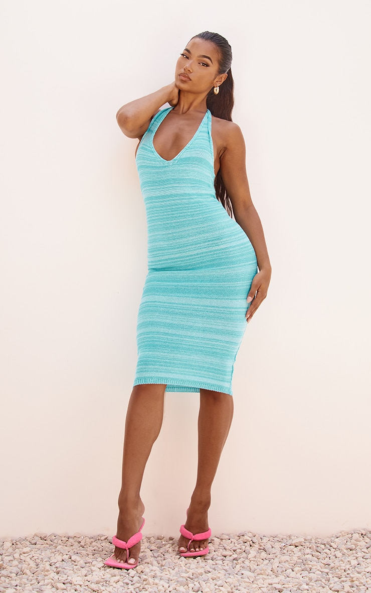 Blue Knitted Two Tone Halter Neck Midi Dress 1