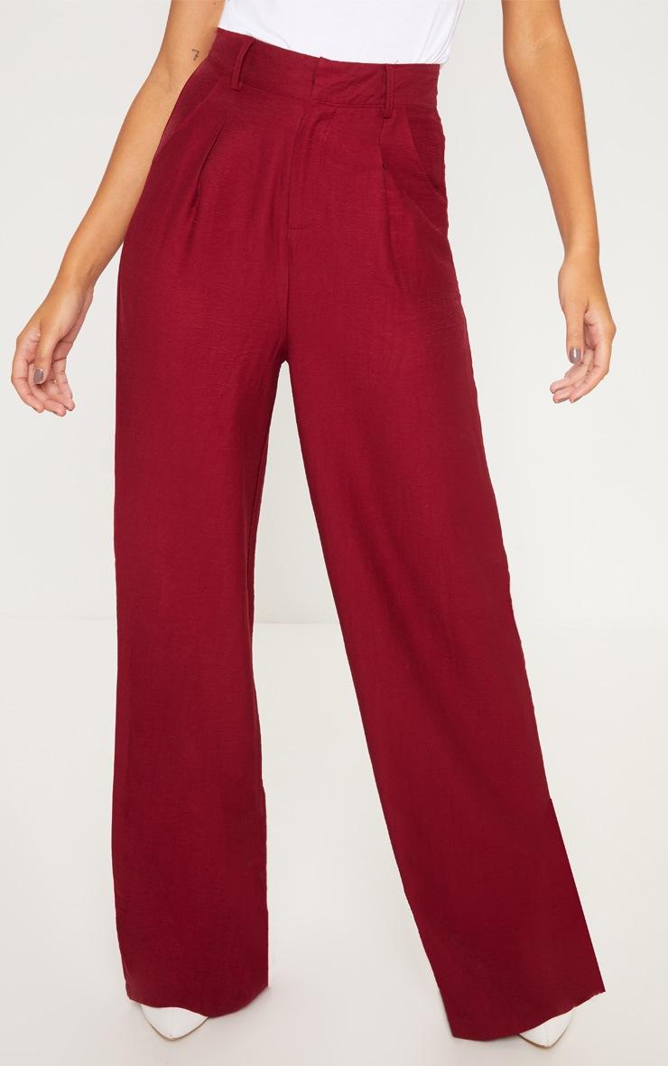 Burgundy Lightweight Pleat Front Wide Leg Pants 2