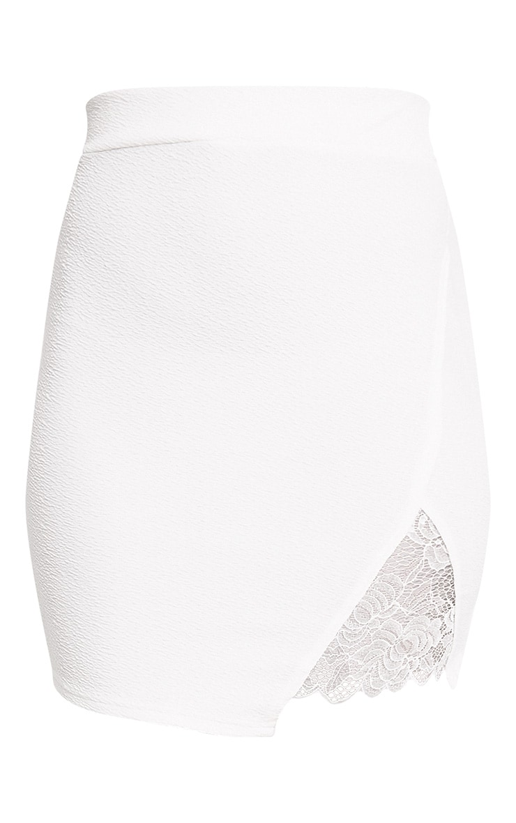Ivory Lace Insert Split Mini Skirt 3