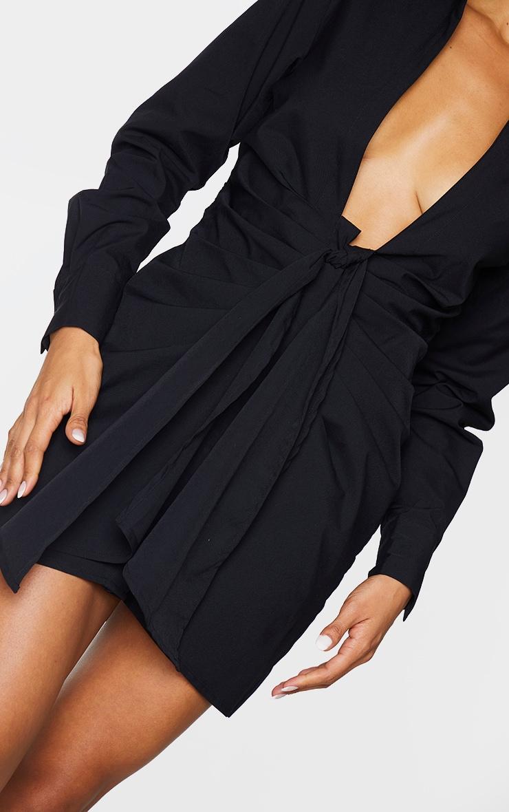Black Plunge Drape Detail Ruched Shirt Dress 4