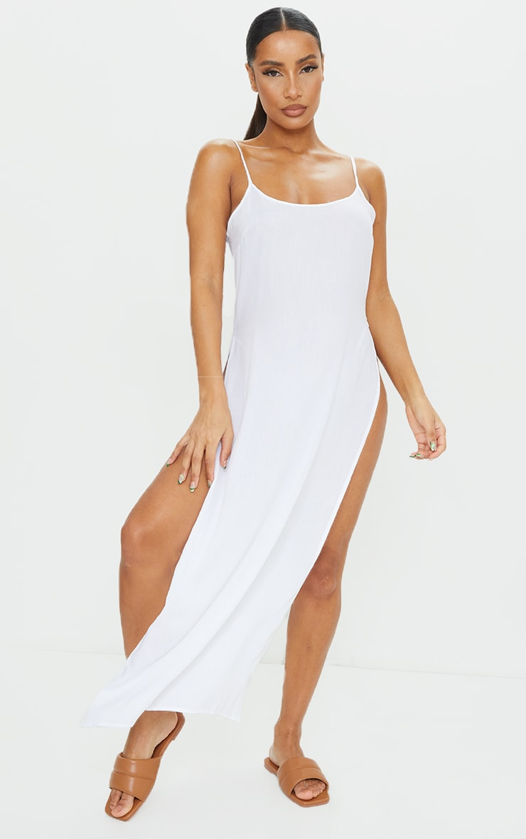 White Cotton High Leg Split Maxi Beach Dress 1