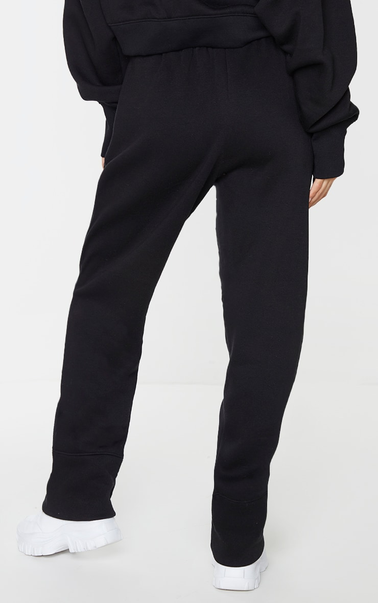 Black Seam Detail Straight Leg Joggers 3