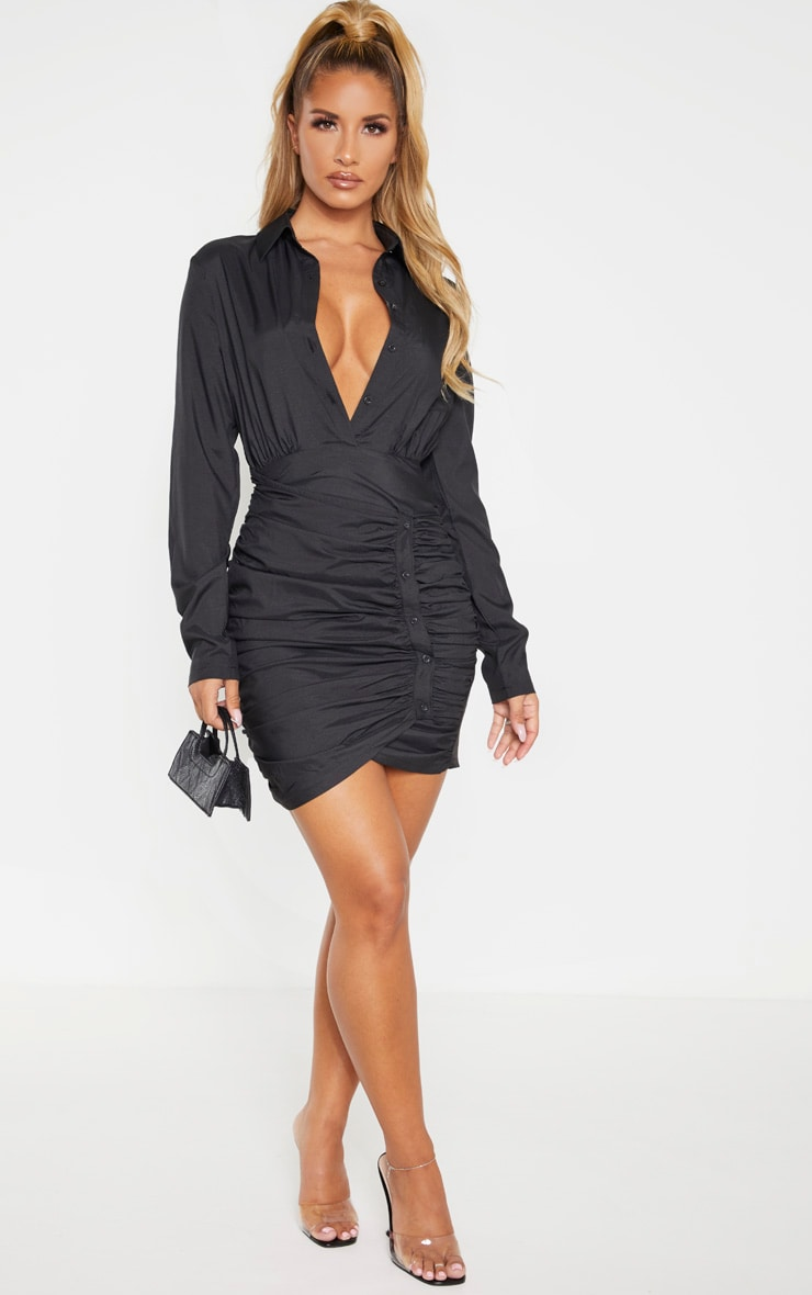 Black Button Detail Ruched Drape Shirt Dress 3