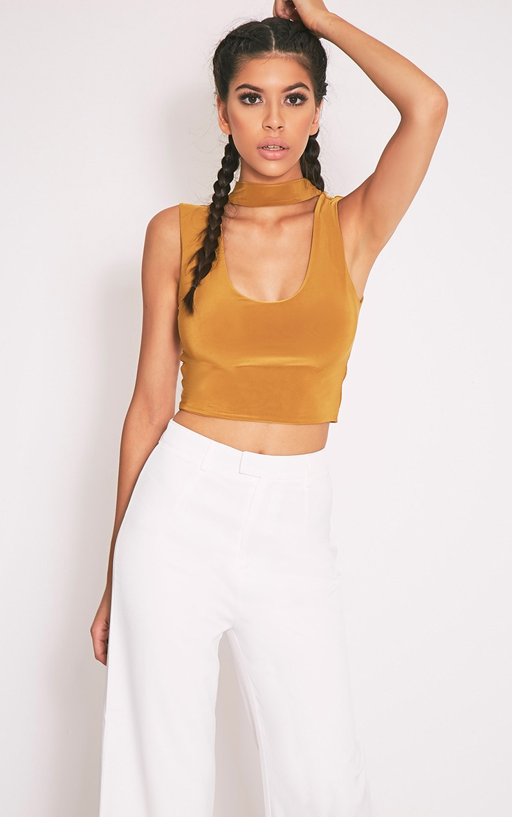 Melrose Dark Gold Cut Out Neck Slinky Crop Top 1