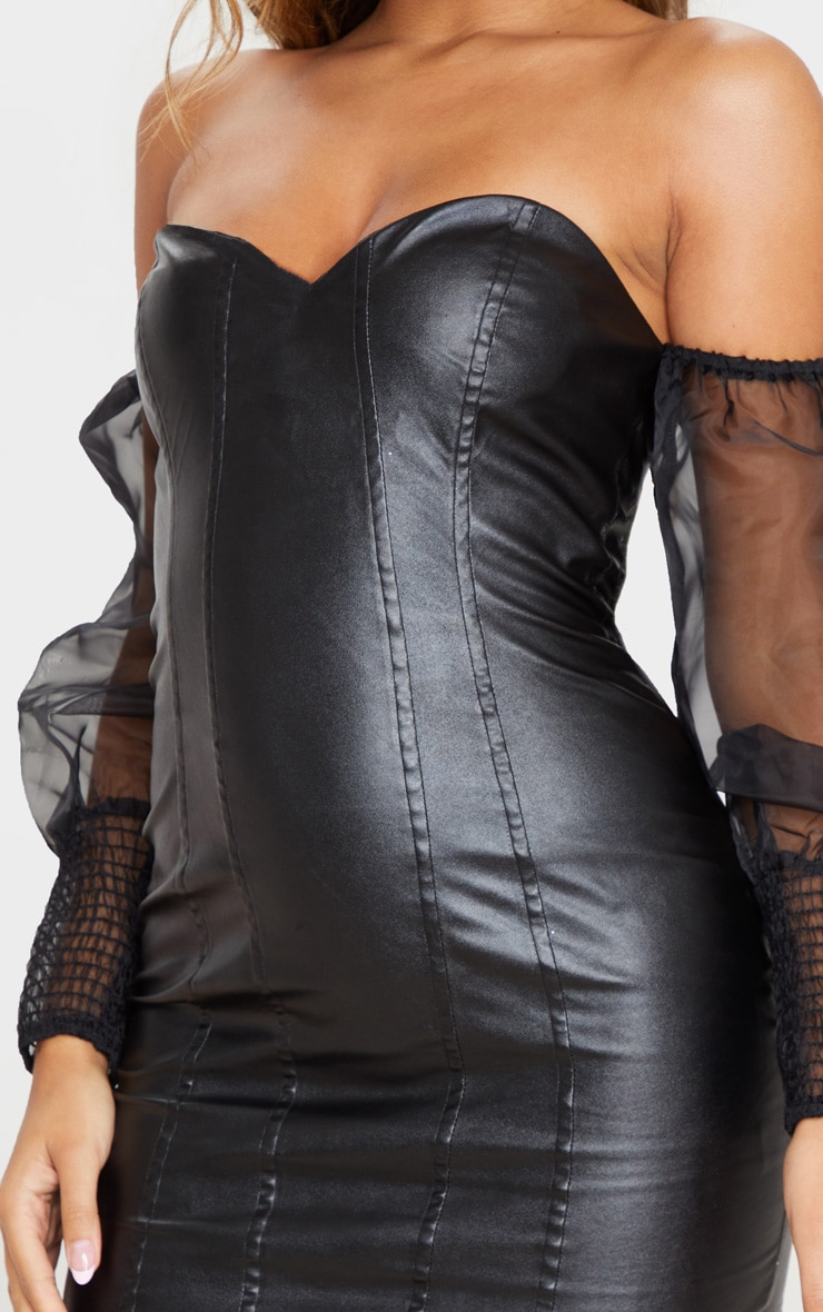 Black PU Organza Sleeve Bardot Bodycon Dress 5