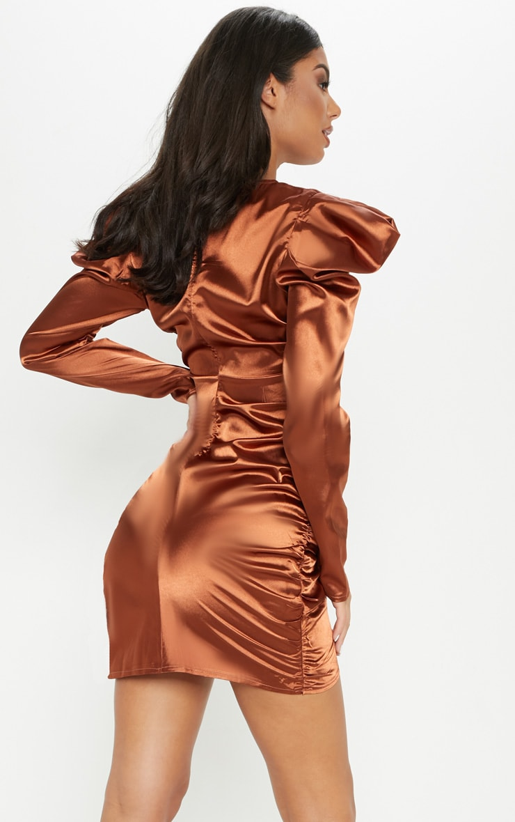 Copper Satin Puff Sleeve Ruched Bodycon Dress 2